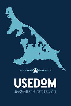 Usedom | Design-Landkarte | Insel Silhouette von ViaMapia