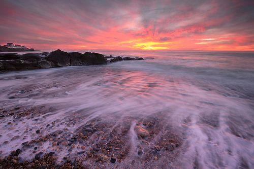 zonsondergang op het strand van Audresselles - France