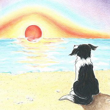 Sendie geniet van de zonsondergang aan zee