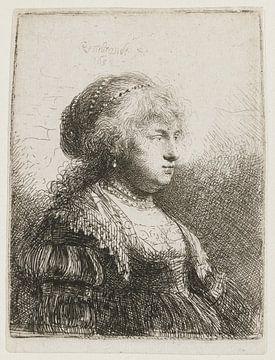 Saskia mit Perlen im Haar, Rembrandt van Rijn