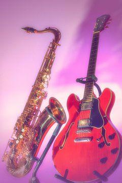 Saxofoon en Gitaar retro van Antoon van Osch