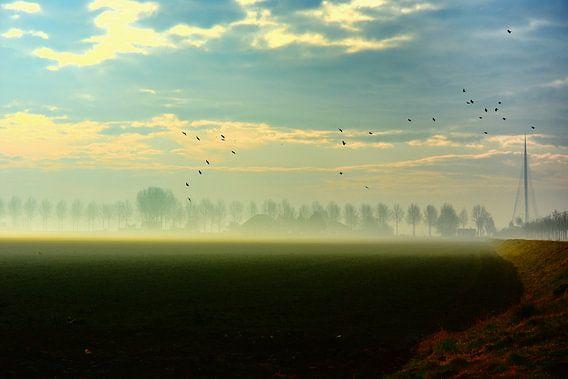 Calatravabrug met mist in de ochtendzon van Ernst van Voorst