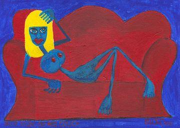 Blauer Akt auf rotem Sofa von Wieland Teixeira