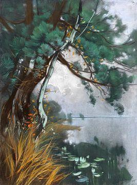 Oeverlandschap met dennen en waterlelies (Schwielowsee), KARL HAGEMEISTER, rond 1900-1905