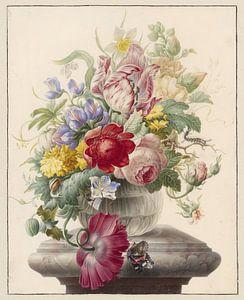 Herman Henstenburgh, Bloemen in een glazen vaas met een vlinder