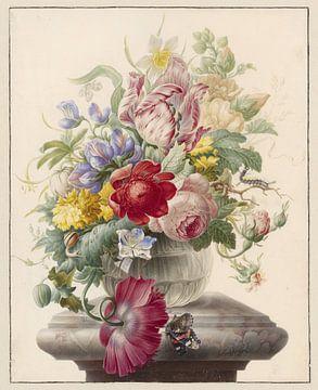 Blumen in einer Glasvase mit einem Schmetterling, Herman Henstenburgh