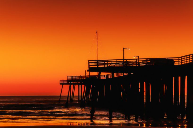 Zonsondergang op Pismo beach van Rolf Linnemeijer