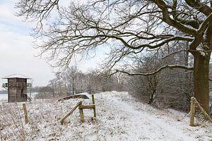 Romeinse wachttoren in winters landschap van