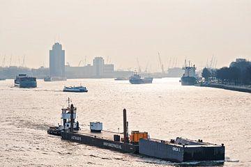 Bedrijvigheid op de Maas in Rotterdam