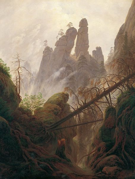 Caspar David Friedrich. Rotsachtig landschap in de Elbe zandsteen bergen van 1000 Schilderijen