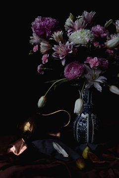 Nature morte aux figues et aux fleurs sur Moniek Kuipers