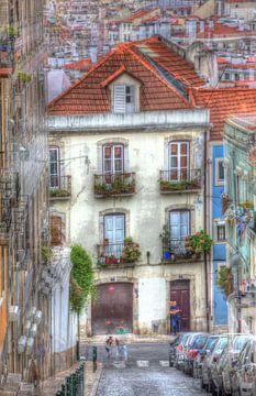 Häuser im Bairro Mouraria, Lissabon, Portugal