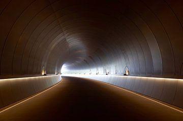 Tunnel sans fin avec virage et éclairage sur Natasja Tollenaar