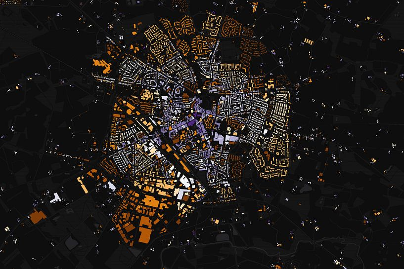Kaart van Winterswijk abstract van Stef Verdonk