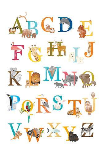 Alfabetposter dieren Nederlands von Karin van der Vegt
