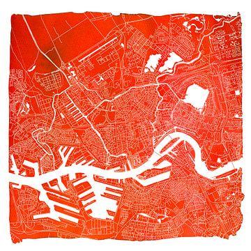 Rotterdam | Stadskaart Rood | Vierkant met Witte kader van