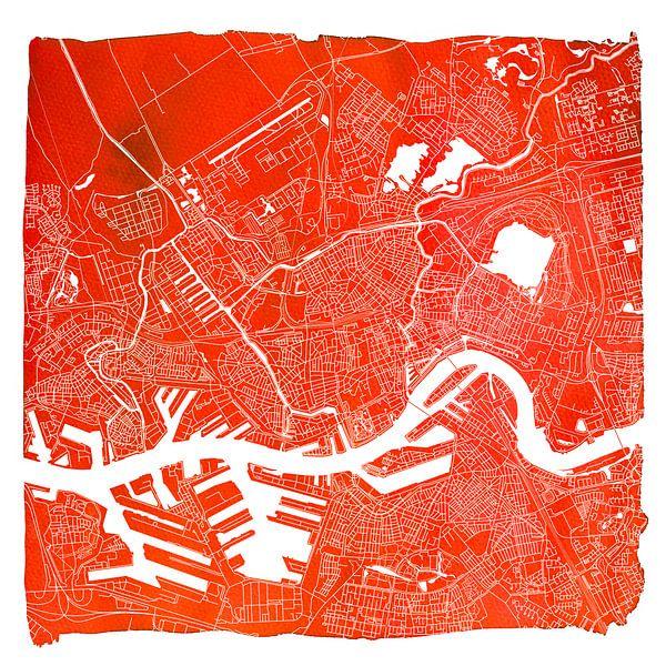 Rotterdam | Stadskaart Rood | Vierkant met Witte kader van - Wereldkaarten.Shop -
