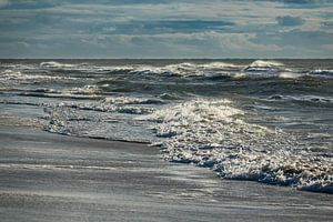Waves on the North Sea coast on the island Amrum