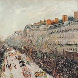 Mardi gras sur les boulevards, Camille Pissarro sur Meesterlijcke Meesters