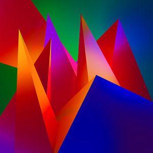 Kubistisch kunstwerk met een compostitie van 3d driehoeken