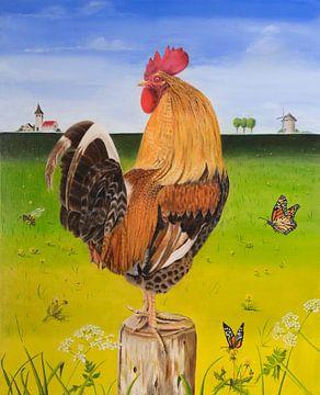 Olieverf Schilderij van kleurige Haan van Ivonne Wierink