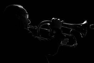 Muzikant  zwart wit silhouet von Marcel Kelfkens