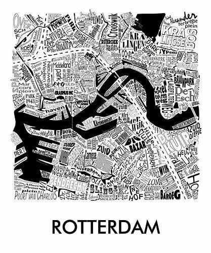 Karte van Rotterdam in Worten von Muurbabbels Typographic Design