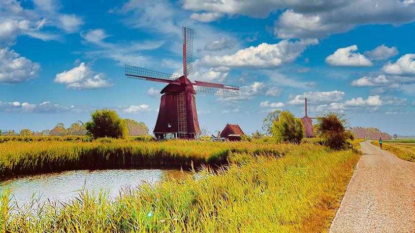 Mühle in Nord-Holland von Digital Art Nederland