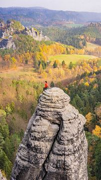Rotsklimmer in Sächsische Schweiz, Duitsland van Jessica Lokker