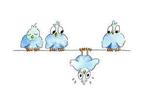 Illustratie gevallen vogel