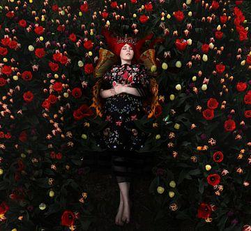 Schlafende Schmetterlingsmädchen zwischen den Tulpen. von Cindy Dominika