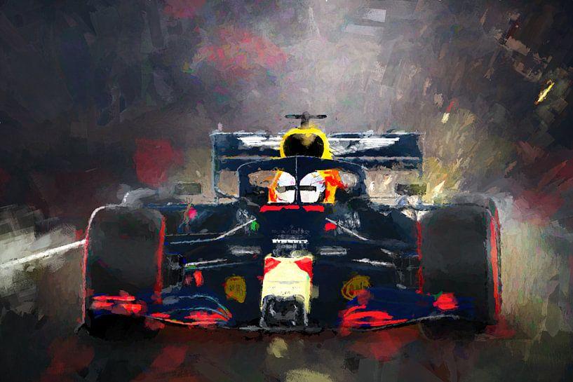 Red Bull Max Verstappen geschilderde regen race van Arjen Roos