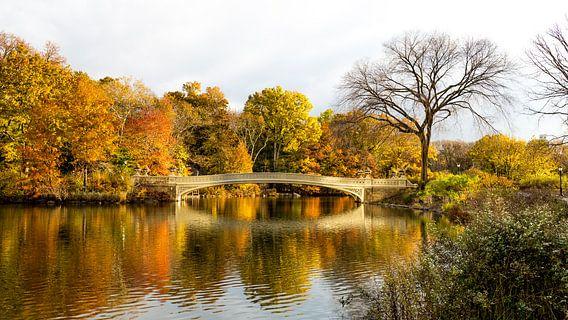 Herfst in Central Park bij de Bow Bridge van Marco Schep
