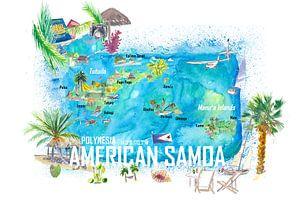 Amerikanisch-Samoa Illustrierte Insel-Reisekarte mit Straßen und Highlights von Markus Bleichner