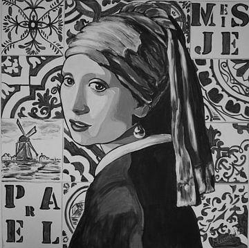 Mädchen mit einem Perlenohrring Schwarz und Weiß von Marielistic-Art