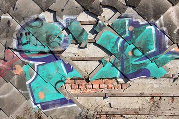 Graffiti an der Wand in Doel in Belgien von Bartholda Lucas