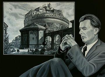 Aldous Huxley en Piranesi Schilderij van Paul Meijering