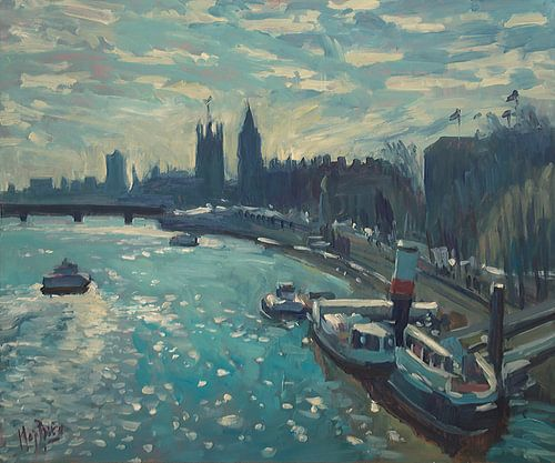 Uitzicht op Westminster, Londen van