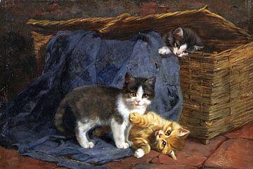 Drie kittens, Julius Adam, 1887 van Atelier Liesjes