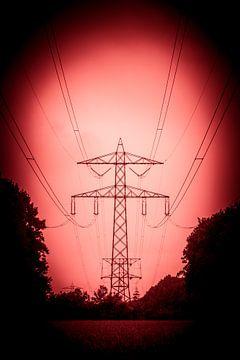 Hoogspanningsmast met rood licht (silhouet) van Fotografie Jeronimo