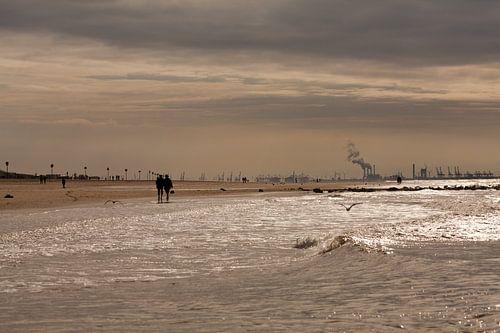 Zonsondergang op het Scheveningse strand van