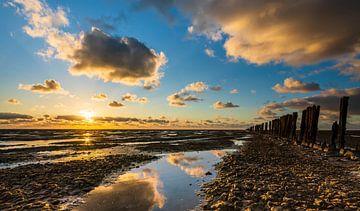 zonsondergang op het wad van Jan Peter Nagel