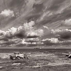 Projet de protection du littoral à New Holland en noir et blanc sur Miranda van Hulst