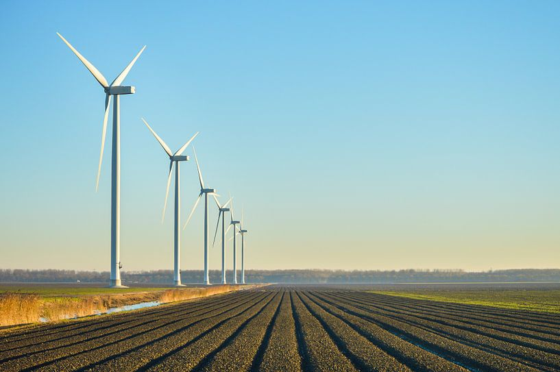 Moderne windturbines in de Flevopolder van Patrick Verhoef
