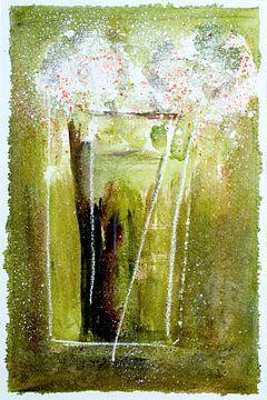 witte bloemen - abstractie van Christine Nöhmeier