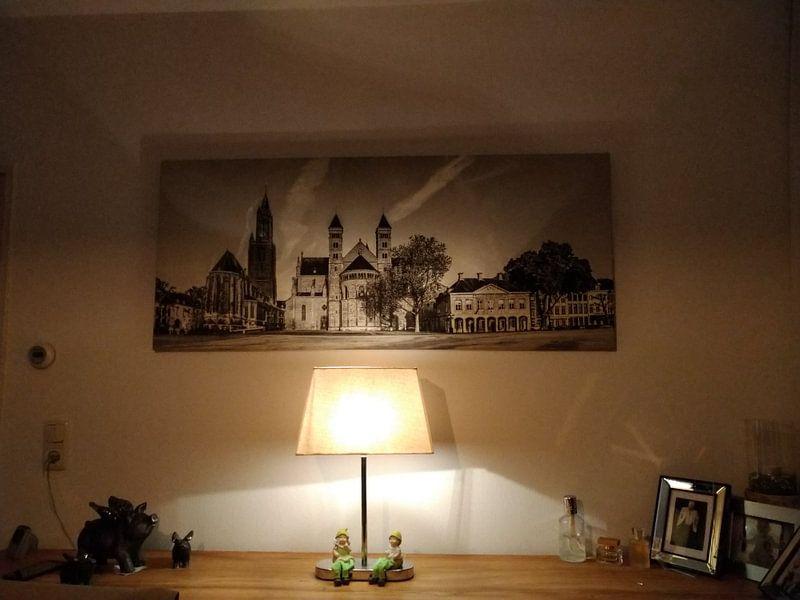 Klantfoto: Vriethof - Mestreech, Vrijthof - Maastricht - Vintage - zwart wit look van Teun Ruijters, op canvas