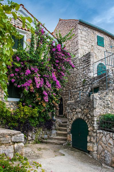 Pittoresk straatje op het eiland Krk, Kroatië van Rietje Bulthuis