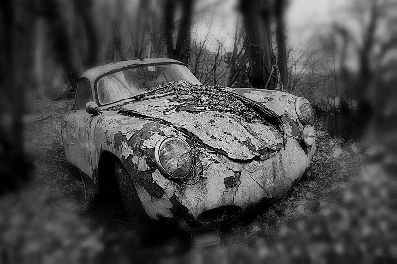 Altes verlassenes rostiges Porsche-Coupé im Wald in einfarbiger Ausführung von Atelier Liesjes