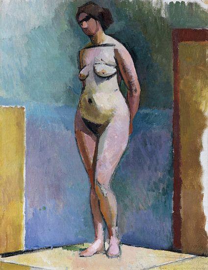 Staand vrouwelijk naakt in de studio, Rudolf Levy – 1910