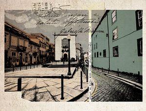 stijlvolle retro ansichtkaart van Porto